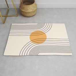 Geometric Lines in Black and Beige 23 (Rainbow and Sun Abstraction) Rug