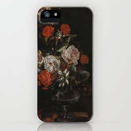 Jacob Campo Weyerman - Bouquet of flowers with roses, passion flower and bindweed - 1700-1720 iPhone Case