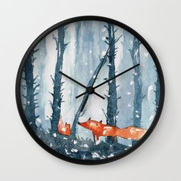 Foxes in forest Wall Clock