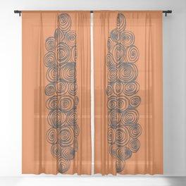 Tangerine Swirl Sheer Curtain
