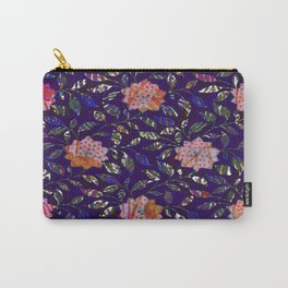 Tiger Rose On Blue Pattern Carry-All Pouch