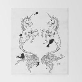 Mermaidunicorns Throw Blanket