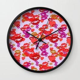 Hearts and Kisses Wall Clock