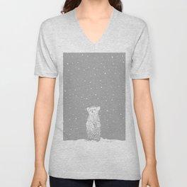 Polar Bear in a Snow Storm Grey Unisex V-Neck