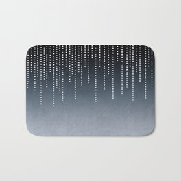 Rhinestone Faux Glitter Line On Dark Blue Bath Mat