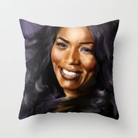 queen Throw Pillows featuring Queen by Lily Fitch