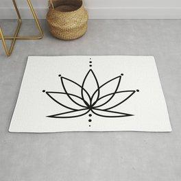 Simple Lotus Flower / Water Lily (Line Art Outline) Rug