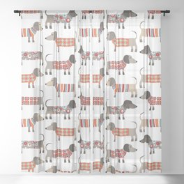 Sausage Dogs in Sweaters Sheer Curtain