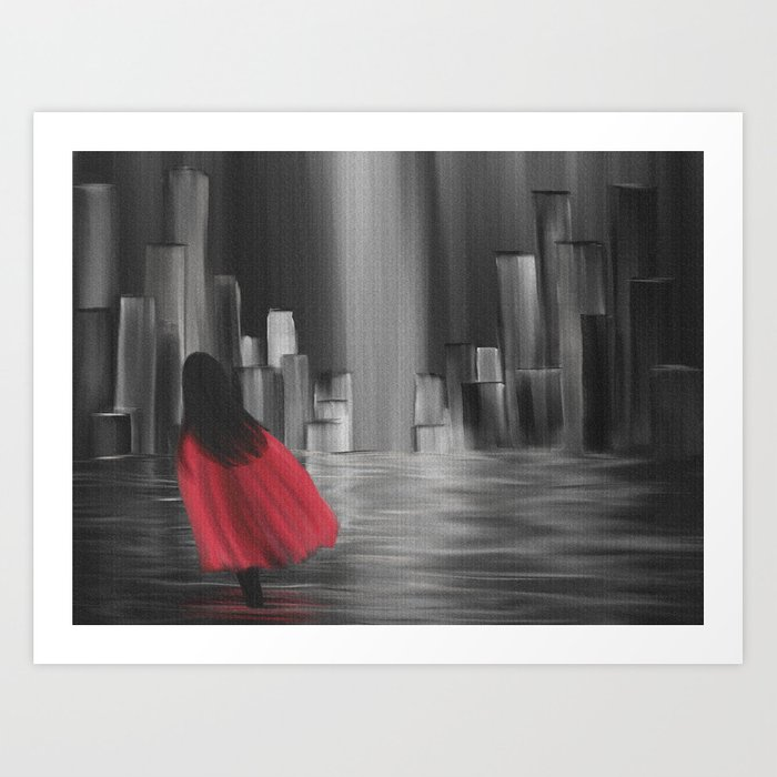 Girl With A Red Cape Art Print