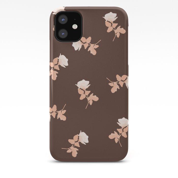 Vintage pink roses pattern on almond brown iPhone Case