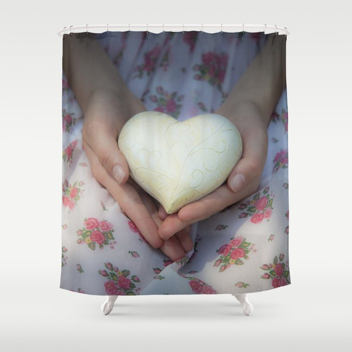 Hands holding a heart Shower Curtain
