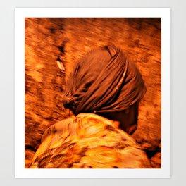Old Woman Praying at Western Wall Art Print