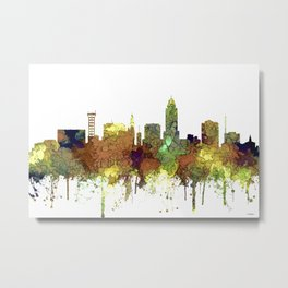 Lincoln, Nebraska Skyline - Safari Buff Metal Print