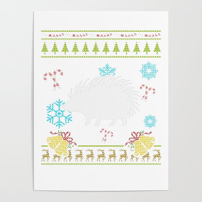 Hedgehog Christmas Sweater.Pet Hedgehog Christmas Sweater Shirt Poster By Shoppzee