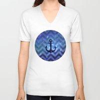 chevron V-neck T-shirts featuring CHEvRON  by Monika Strigel