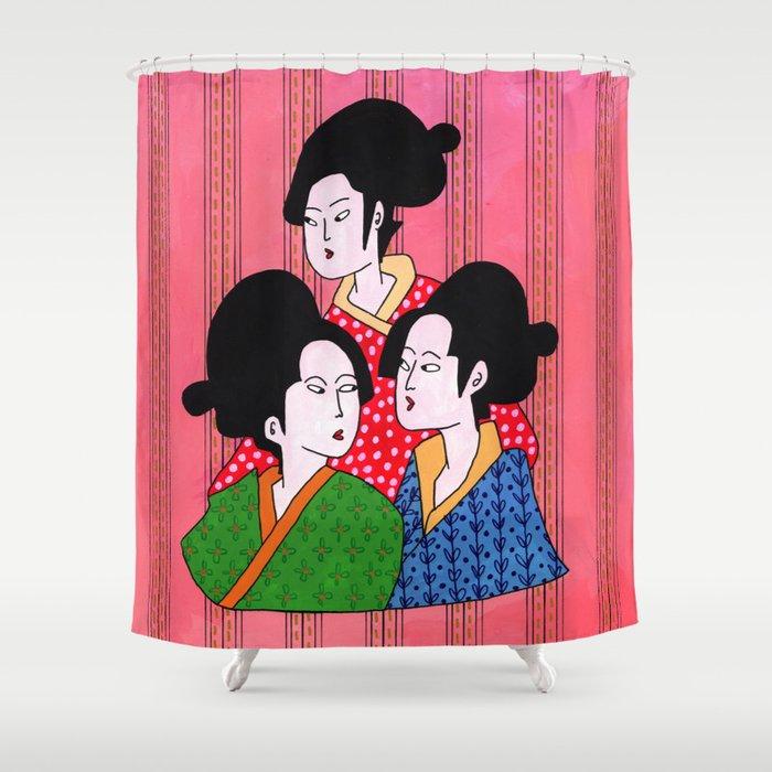Geisha gossip Shower Curtain
