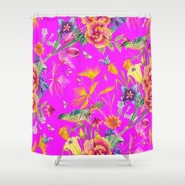 Bold Summer Print on Magenta Pink Shower Curtain