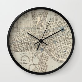 Vintage Map of Des Moines IA (1875) Wall Clock