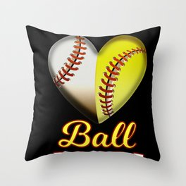 Funny Ball Mom  Heart design Gift for Baseball Players Throw Pillow