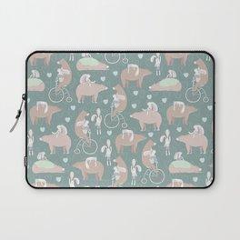 Vintage cute pink brown funny bear rabbit animal pattern Laptop Sleeve