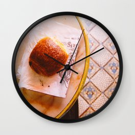 Pain au Chocolat From Above Wall Clock