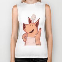 piglet Biker Tanks featuring Dress the Piglet by Anna Cannuzz