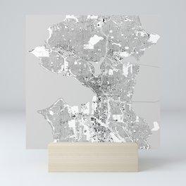 Seattle, Washington City Map, Black/White Mini Art Print