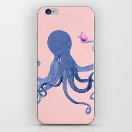 Blue Octopus and Butterfly iPhone Skin