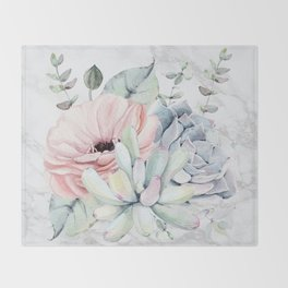 Pretty Succulents on Marble by Nature Magick Throw Blanket