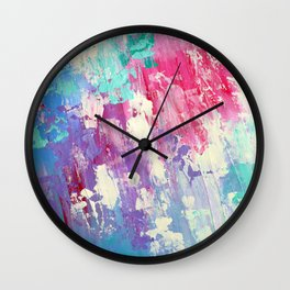Pink and Blue Abstract Wall Clock