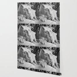 Penn State University Nittany Lion Statue Black White Side Wallpaper