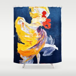 Poster vintage french show Folies Bergere Paris Shower Curtain