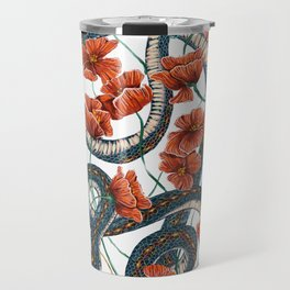 Let Go, Let Grow – Teal Snake in Red Poppies Travel Mug