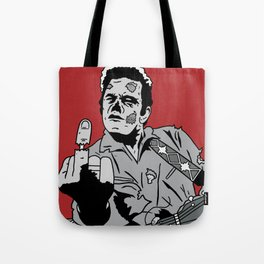 Johnny Cash Zombie Portrait Giving the Finger Print Tote Bag