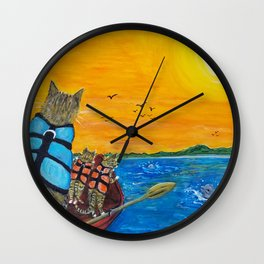 Cats in a boat watching dolphins Wall Clock