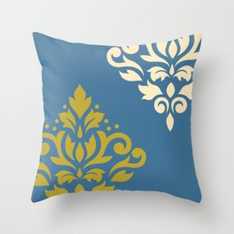 Scroll Damask Art I Gold & Cream on White Throw Pillow
