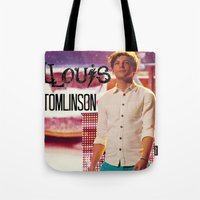 louis tomlinson Tote Bags featuring Louis Tomlinson by Marianna