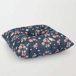 Navy blue cherry blossom finch Floor Pillow