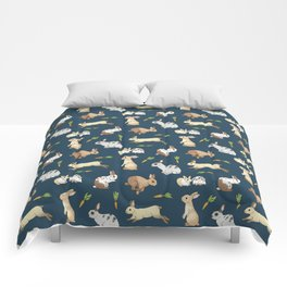 Rabbits on navy background Comforters