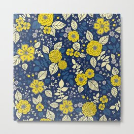 Yellow & Blue Floral Pattern Metal Print