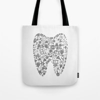 tooth Tote Bags featuring Tooth by aleksander1