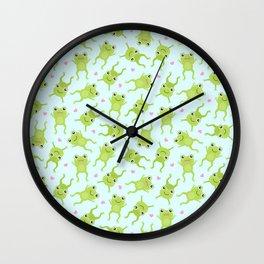 Kawaii Happy Frogs on Blue Wall Clock