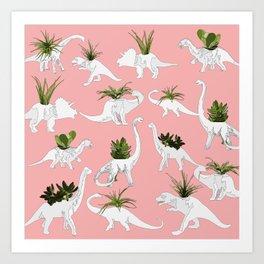Dinosaurs & Succulents Art Print
