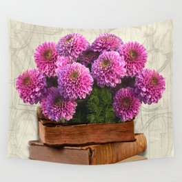 Old Books and Flowers Wall Tapestry