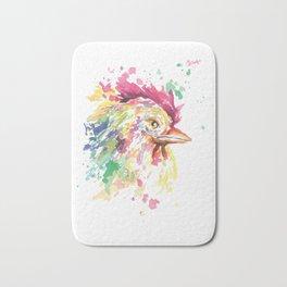 Watercolor Rooster Animal Bath Mat