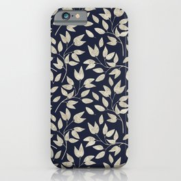 Abstract Silver leaves Navy Blue Inspiring Words Typography iPhone Case