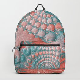 Abstract Living Coral Reef Nautilus Pastel Teal Blue Orange Spiral Swirl Pattern Fractal Fine Art Backpack