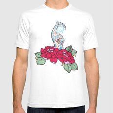 pin-up and roses Mens Fitted Tee MEDIUM White