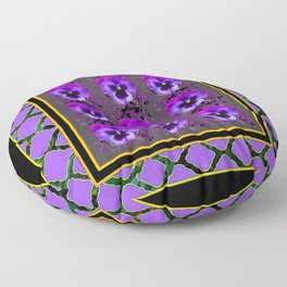 GARDEN OF PURPLE PANSY FLOWERS BLACK & TEAL PATTERNS Floor Pillow