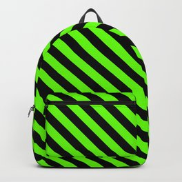 Bright Green and Black Diagonal LTR Stripes Backpack